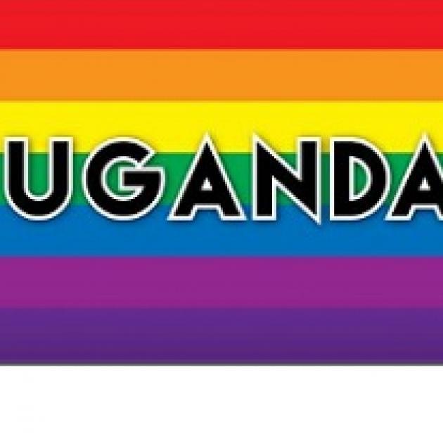 Rainbow background with words UGANDA