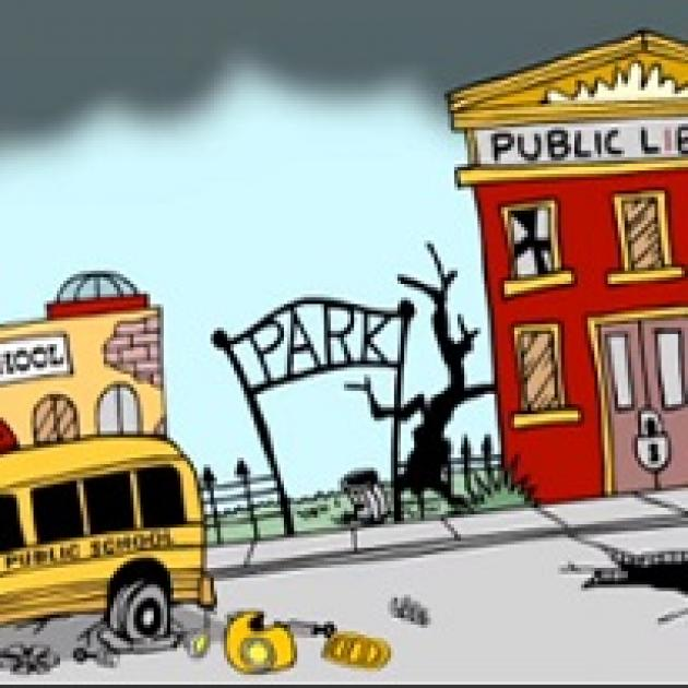 Cartoon of broken down school bus a damaged Park sign and a public school in disrepair