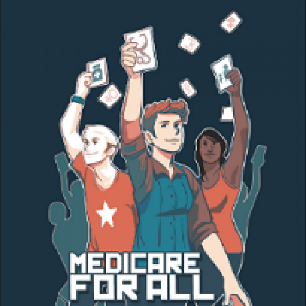 Colorful drawing of people holding up cards in the air and the words Medicare for All