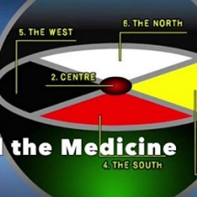 An oval with four sections, red, white, yellow and black and words pointing out the north in white, the west in black and the centre, a red circle and the south in red. At the bottom, the bottom half of a circle and words The Medicine