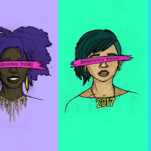 Art of women's heads with pink ribbons over their eyes that say Melanincholia Festival
