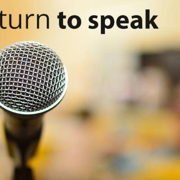 Microhone and words turn to speak