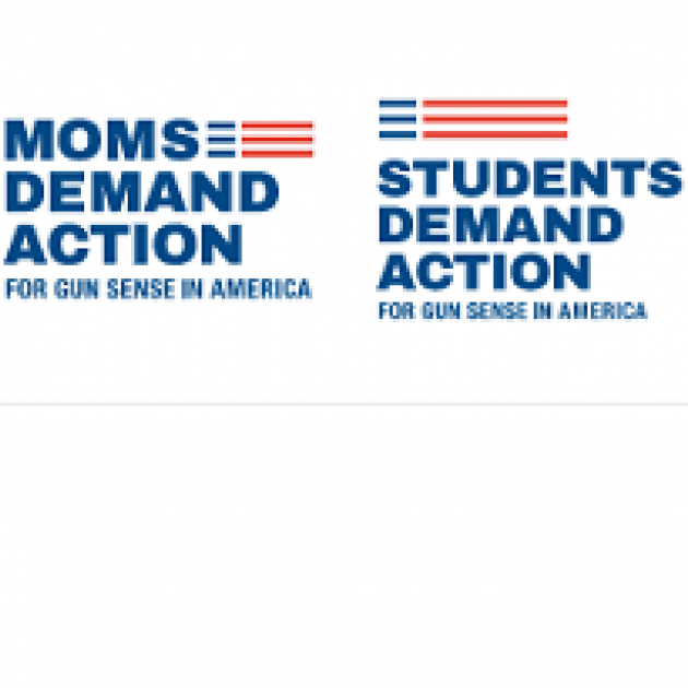 A logo in red and blue against white that says Moms Demand Action and Students Demand Action
