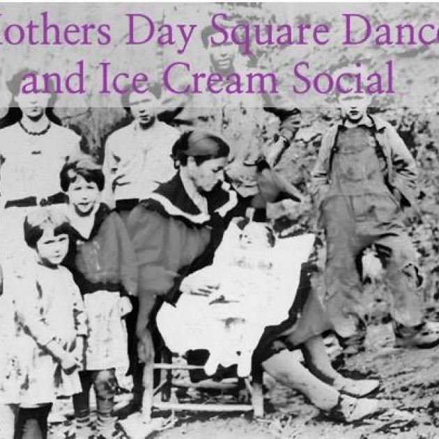 Old fashioned photo of woman surrounded by kids and words Mother's Day Dance and Ice Cream Social