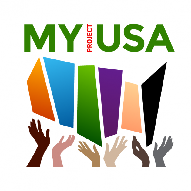 Logo saying MyProjectUSA and hands of different colors