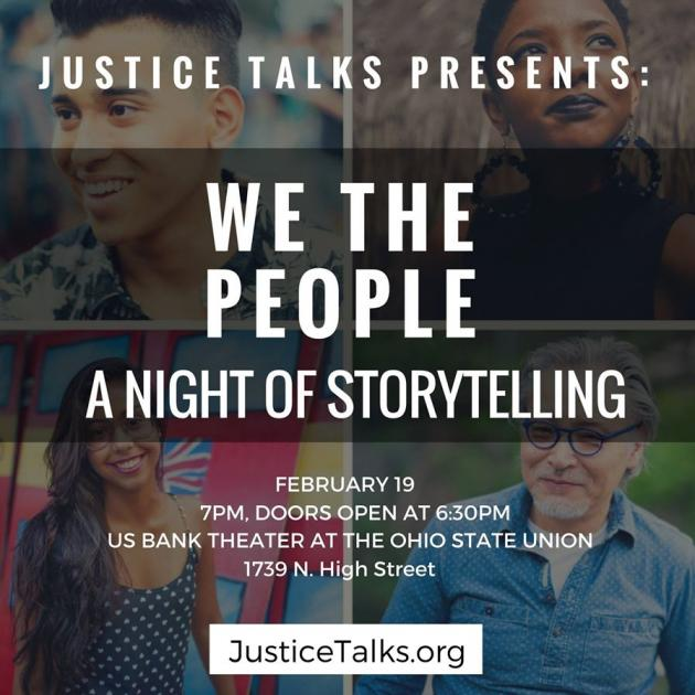"Squares on a page with photos of people and words ""We the People A Night of Storytelling"""