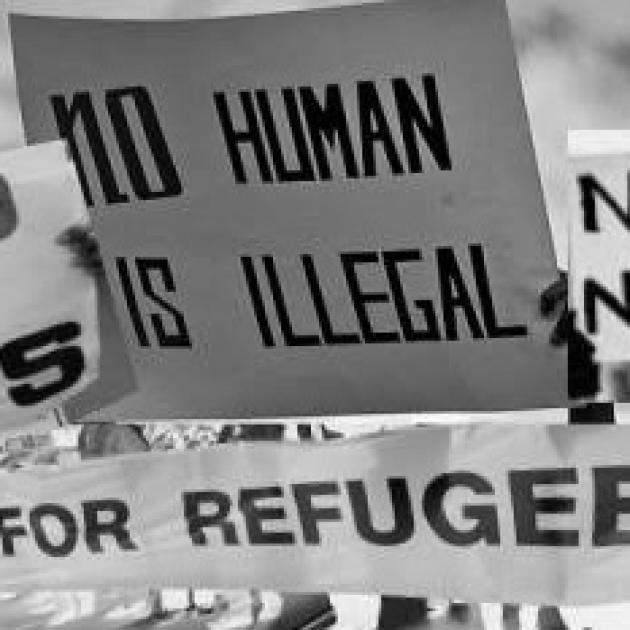 Signs at a rally one saying No Human is Illegal