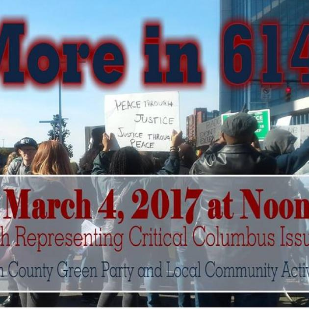 People marching in protest in the streets and words No More in 614