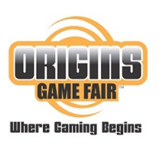 Words Origins Game Fair in a logo with orange circles around it and at bottom words Where Gaming Begins