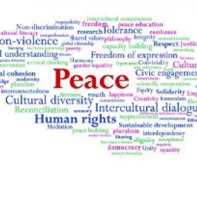The word in red Peace with a bunch of related words all around it like Human Rights and Cultural Diversity