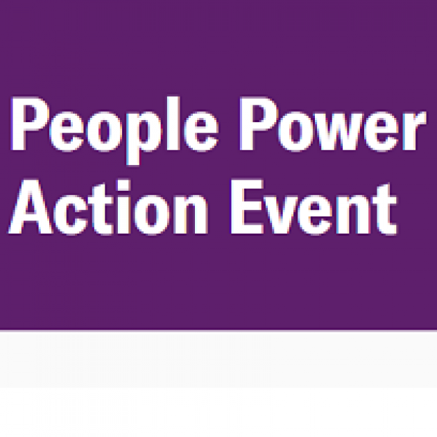 Purple background and white words People Power Action Event
