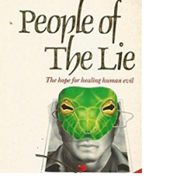 Book cover with words People of the Lie, the hope for healing human evil, and a man's face which is half a reptile