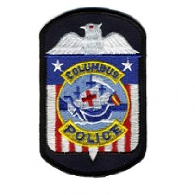 Red white blue police badge type of patch