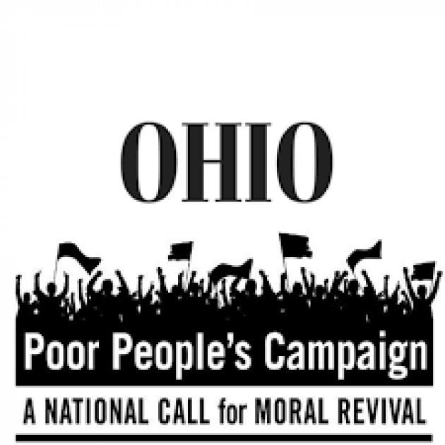 The words Poor People's campaign a National call for moral revival and a drawing of lots of people waving signs and flags