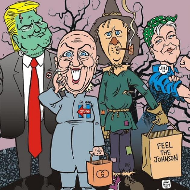 The four presidential candidates in a cartoon