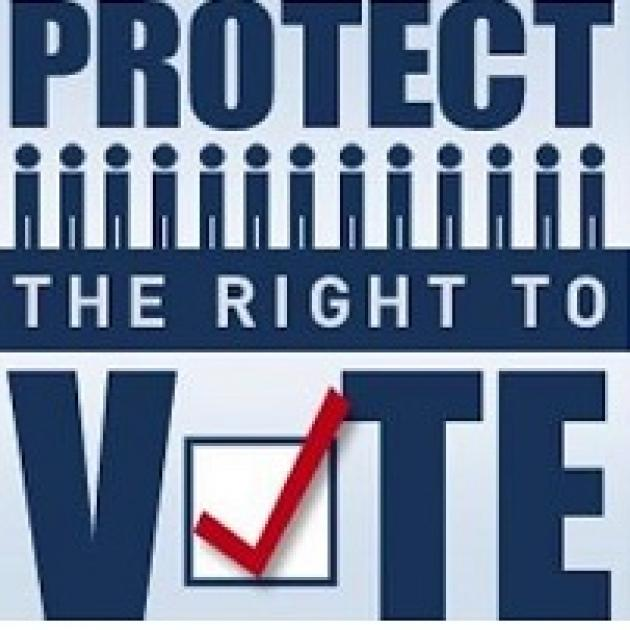 The words Protect the Right to Vote