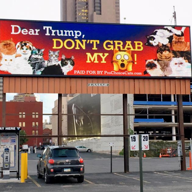 Trump don't grab my - then a picture of a cat - on a billboard