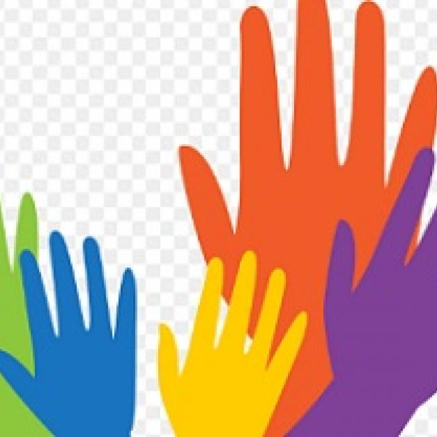 Green, blue, yellow red and purple hands reaching up
