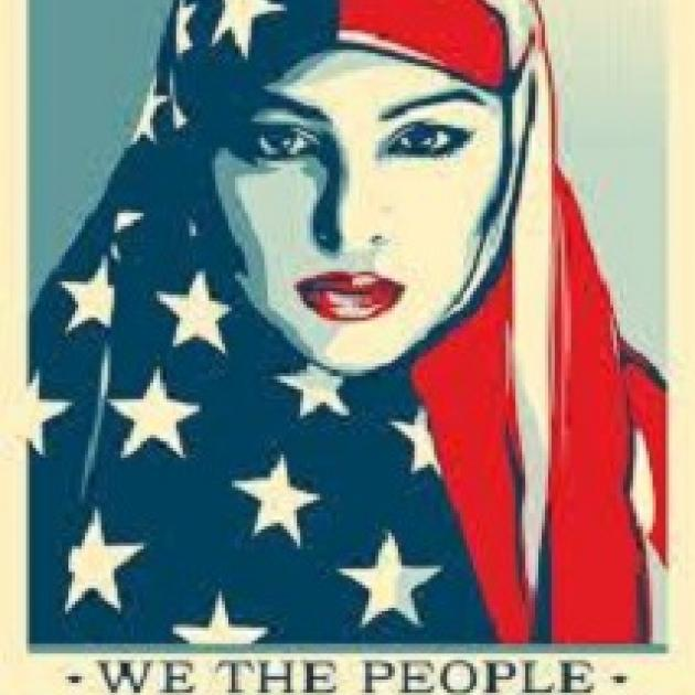 Drawing of woman in Muslim headgear tat is red white and blue
