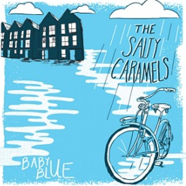 Light blue colored background black and white cartoony houses at top left and clouds and the words the Salty Caramels over a bike and white puddles and the words in white Baby Blue
