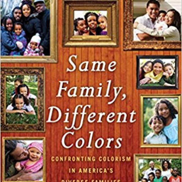 Brown book cover with lots of family photos on the front depicting families with people of different colors and the words Same Family, Different Colors