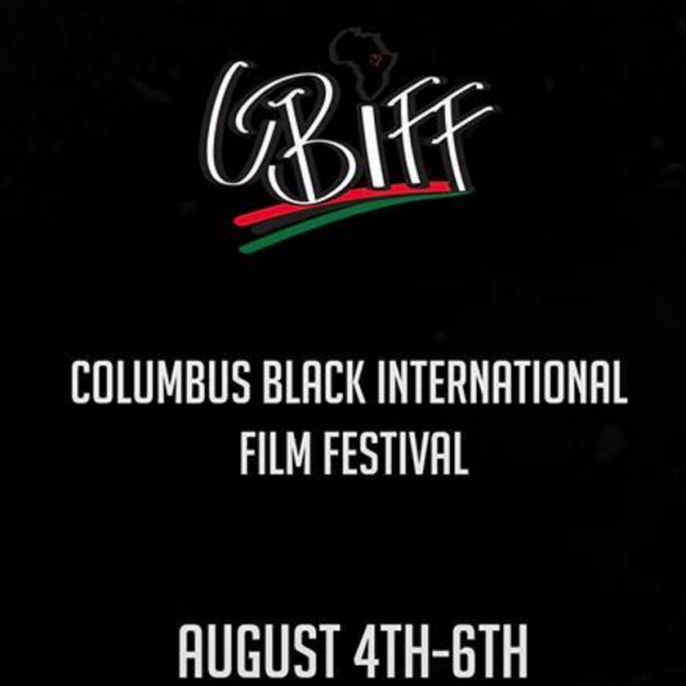 Black background with white words promoting film festival