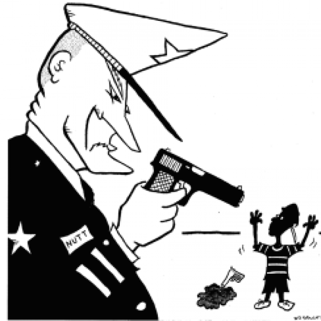 Policeman cartoon holding a gun on a small black child with a water pistol