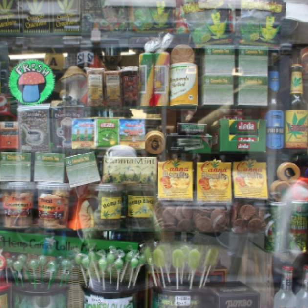 Store with shelves of edibles