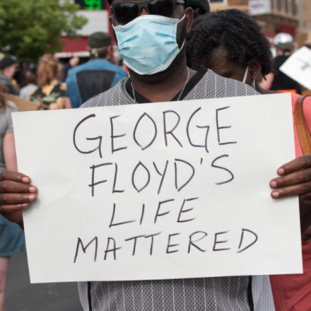 Sign saying George Floyd's life mattered