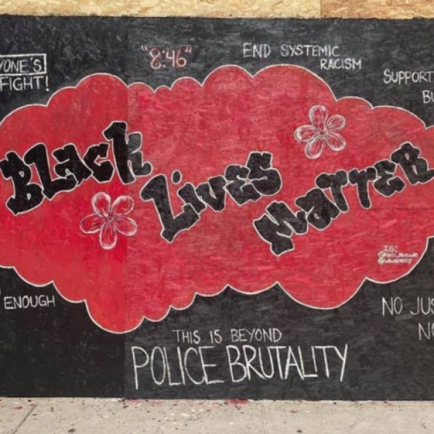 Art on wall saying Black Lives Matter
