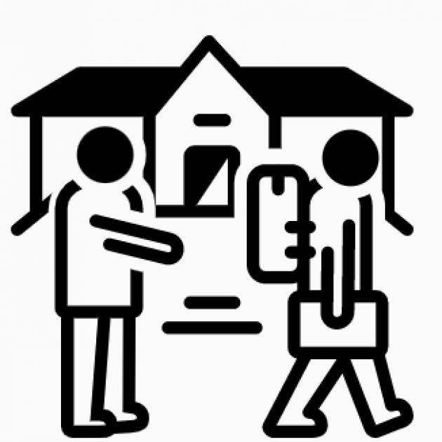 Line drawing of person leaving home with baggage