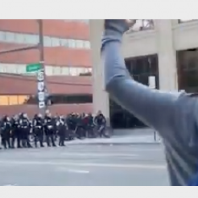 Police line and demonstrator with hands in air