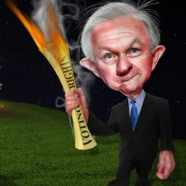 Cartoon of weird looking gray haired man with big ears in a suit holding a fiery torch made of a rolled up paper that says Voting Rights on it