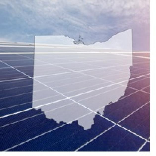 Map of Ohio with grid in background and sky