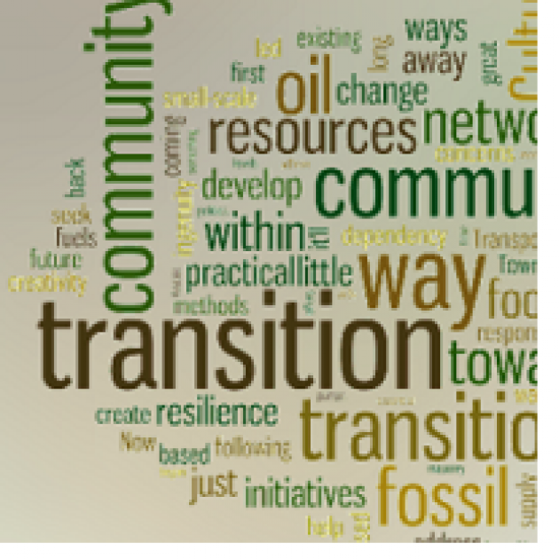 Lots of words like transition community, oil, community, fossil, resilience, change, initiatives, etc.