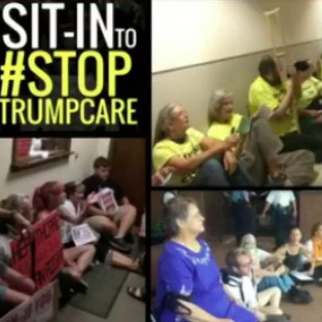 Three photos showing people sitting on the floor and the words Sit in to #Stop Trumpcare