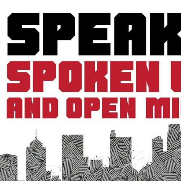 The words BqiC presents Speak Spoken and Open with columbus skyline at the bottom