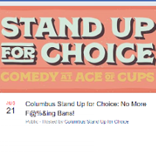 Pink background and large words Stand up for Choice comedy at Ace of Cups