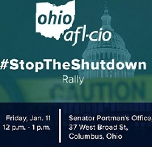 Blue background with muted image of a capitol dome and an image of the state of ohio with the words AFL-CIO and #StoptheShutdown Rally and details of the event