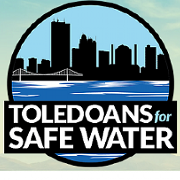 Skyline in a circle and the words Toledoans for Safe Water