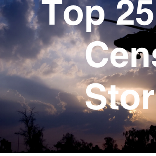 Helipcopter in background with words Top 25 Most Censored Stories of 2016