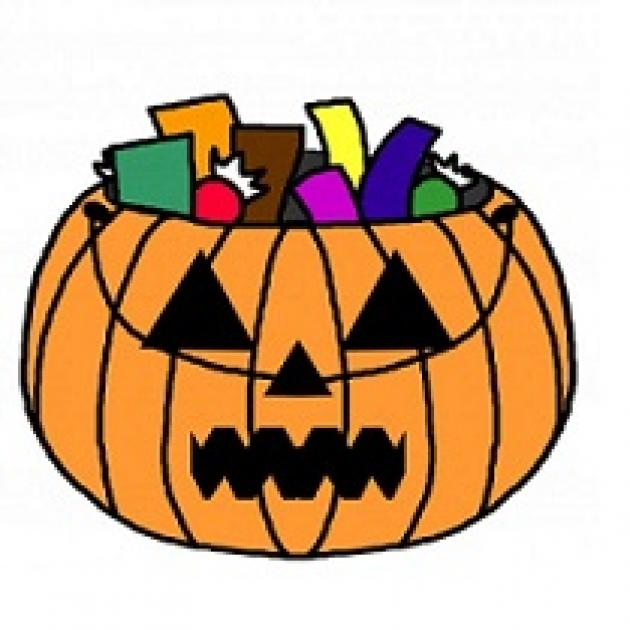 Drawing of pumpkin with candy coming out of the top