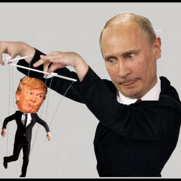 Putin, balding white guy wearing black holding puppet strings with Trump as the puppet