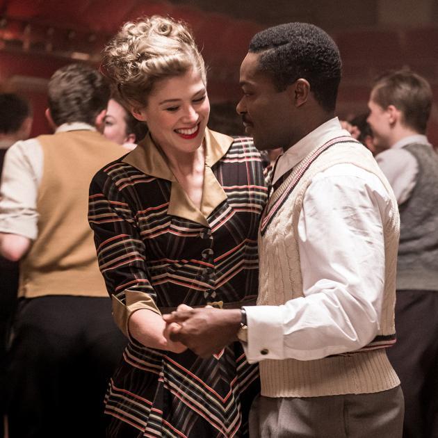 Black man and white woman dancing