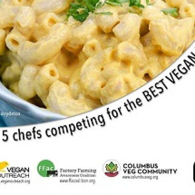 Photo of mac and cheese with words Five Chefs Compete for the BEST Vegan