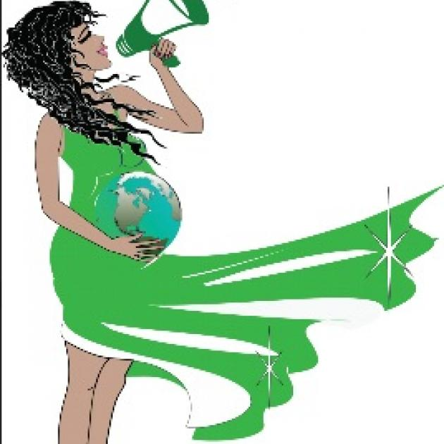 Drawing of a woman with a bullhorn