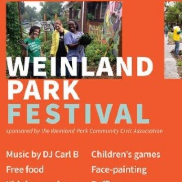 Orange background with words Weinland Park Festival