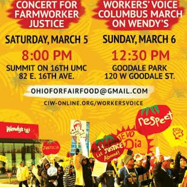 Poster announcing events with people picketing Wendys