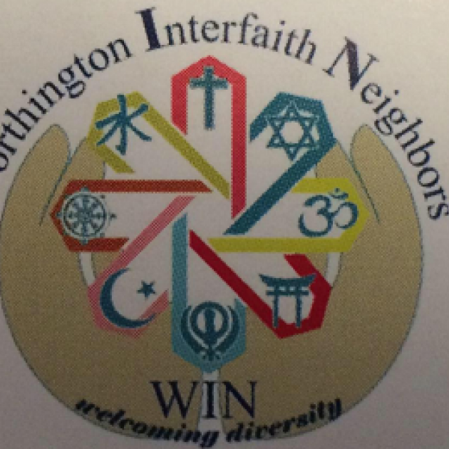 Worhtington Interfatih Neighbors logo - round circle with symbols inside and the name of the groups and words Welcoming Diversity