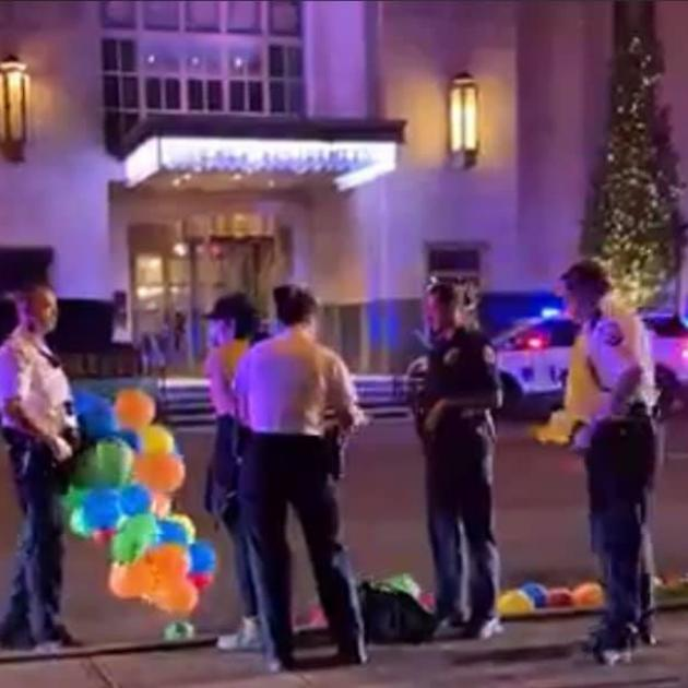 Police on street with balloons